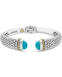 Lagos - 18k Yellow Gold & Sterling Silver Caviar Color Cuff With Turquoise - Lyst