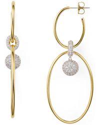 Nadri - Large Oval Double Hoop Earrings - Lyst