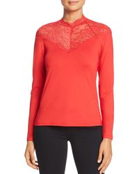 Vero Moda - Lua Lace-neck Top - Lyst