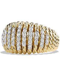 David Yurman - Tempo Ring With Diamonds In 18k Gold - Lyst