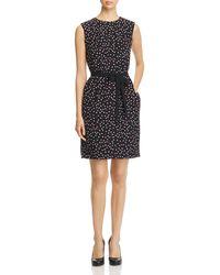 Paule Ka - Belted Heart-print Silk Dress - Lyst