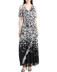1aeb94a075a Calvin Klein - Cold-shoulder Floral-print Maxi Dress - Lyst