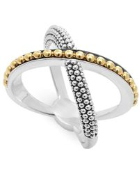 Lagos - 18k Gold And Sterling Silver Enso X Ring - Lyst