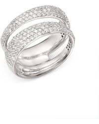 Roberto Coin - 18k White Gold Scalare Double Pavé Diamond Ring - Lyst