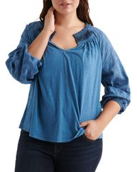 Lucky Brand - Geo Embroidered Peasant Top - Lyst
