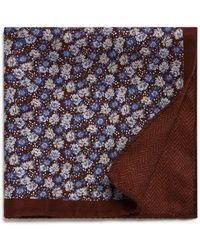Bloomingdale's - Herringbone/floral Reversible Pocket Square - Lyst