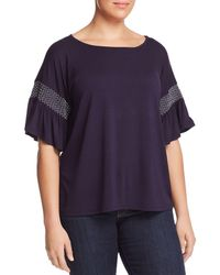 Vince Camuto Signature - Smocked-sleeve Top - Lyst