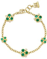Temple St. Clair | 18k Yellow Gold Emerald Trio And Diamond Bracelet | Lyst