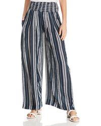 Aqua - Smocked Striped Wide-leg Pants - Lyst