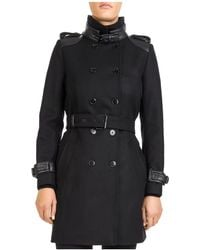 The Kooples - Double-breasted Leather-trimmed Coat - Lyst