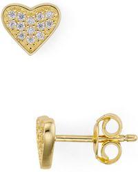 Aqua - Pavé Heart Stud Earrings In 18k Gold-plated Sterling Silver - Lyst