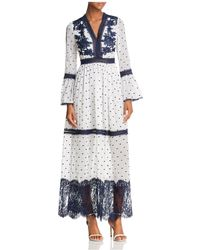 Aqua - Embroidered Bell Sleeve Maxi Dress - Lyst