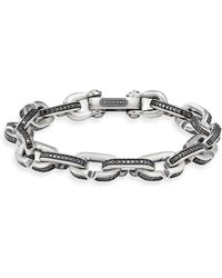 David Yurman - Streamline Chain Link Bracelet In Sterling Silver With Black Diamonds - Lyst