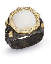 Armenta - 18k Yellow Gold & Blackened Sterling Silver Old World Potch Opal & Diamond Signet Ring - Lyst