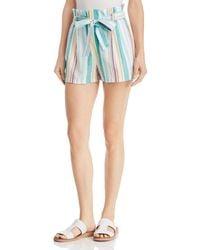 Aqua - Striped Paperbag - Waist Shorts - Lyst