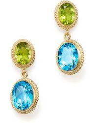Bloomingdale's - Blue Topaz & Peridot Drop Earrings In 14k Yellow Gold - Lyst