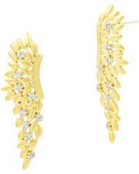 Freida Rothman - Fleur Bloom Angel Wing Earrings In 14k Gold - Plated & Rhodium - Plated Sterling Silver - Lyst