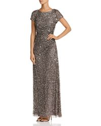 Adrianna Papell - Beaded Cowl-back Gown - Lyst