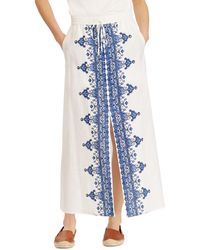 Ralph Lauren - Lauren Embroidered Drawstring Maxi Skirt - Lyst