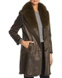 Maximilian - Rabbit Fur Coat With Fox Fur Collar - Lyst