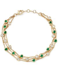 Bloomingdale's - Emerald & Diamond Station Bracelet In 18k Yellow Gold - Lyst