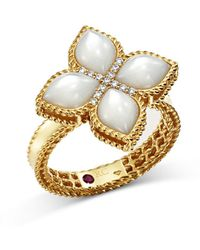 Roberto Coin - 18k Yellow Gold Venetian Princess Mother-of-pearl & Diamond Ring - Lyst