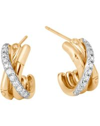 John Hardy - 18k Yellow Gold Bamboo Pavé Diamond J Hoop Earrings - Lyst