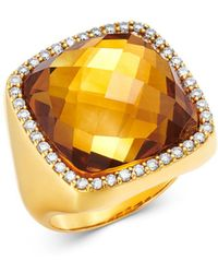 Roberto Coin - 18k Yellow Gold Citrine Doublet Cocktail Ring With Diamonds - Lyst