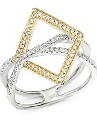 Bloomingdale's - Diamond Geometric Statement Ring In 14k White And Yellow Gold, .40 Ct. T.w. - Lyst