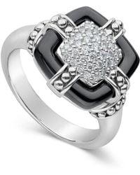 Lagos - Sterling Silver Black Caviar Diamond & Black Ceramic Square Ring - Lyst