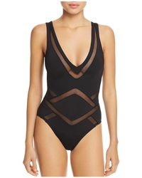 Kenneth Cole - Plunge One Piece Swimsuit - Lyst