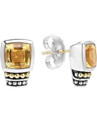 Lagos - 18k Gold And Sterling Silver Caviar Color Citrine Stud Earrings - Lyst