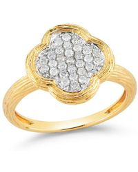 Bloomingdale's - Diamond Clover Ring In Textured 14k Yellow Gold, .20 Ct. T.w. - Lyst