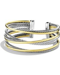 David Yurman - Crossover Four-row Cuff With Gold - Lyst