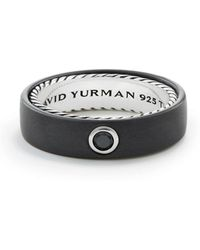 David Yurman - Men's Streamline Band Ring With Black Diamond - Lyst