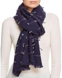 Fraas - V Stitch Detail Wool Scarf - Lyst