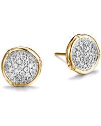 John Hardy - Bamboo 18k Yellow Gold Diamond Pavé Small Round Stud Earrings - Lyst