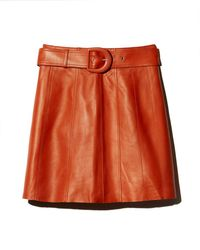 Sandro - Aubin Seamed Leather Mini Skirt - Lyst