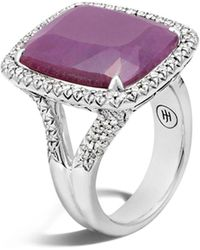 John Hardy - Sterling Silver Classic Chain Magic Cut Indian Ruby Ring With Diamonds - Lyst
