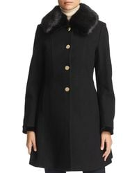 Laundry by Shelli Segal - Faux Fur Collar Lace-up Back Coat - Lyst