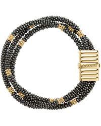 Lagos - Gold & Black Caviar Collection 18k Gold & Ceramic Beaded Multi - Strand Bracelet - Lyst