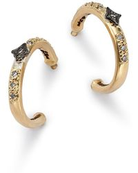 Armenta - Blackened Sterling Silver & 18k Yellow Gold Old World Crivelli Champagne Diamond Hoop Earrings - Lyst