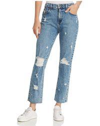 PAIGE - Noella Straight-leg Frayed-hem Jeans In Westlyn Destructed - Lyst