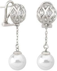 Majorica - Sterling Silver Pavé Bead & Imitation Pearl Drop Earrings - Lyst