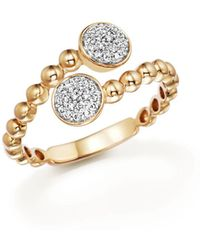 Bloomingdale's - Diamond Pavé Bypass Ring In 14k Yellow Gold, .16 Ct. T.w. - Lyst