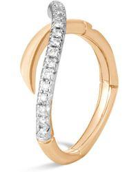 John Hardy - 18k Yellow Gold Bamboo Pavé Diamond Ring - Lyst
