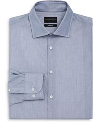 Emporio Armani - Micro Print Regular Fit Button-down Shirt - Lyst