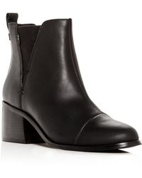 TOMS - Women's Esme Leather Block-heel Booties - Lyst