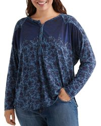 Lucky Brand - Plus Size Printed Henley Top - Lyst