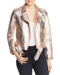 True Religion - Metallic Leather Moto Jacket - Lyst